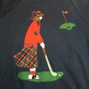 3/$25 Vintage Applique Lady Golfer Sweatshirt XL